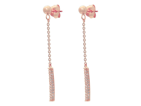 Rose Post & Flash Bar Dangling Earrings