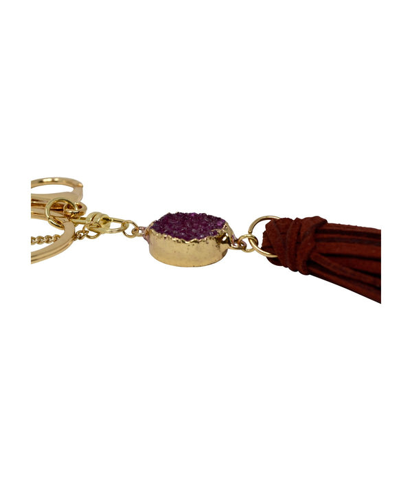 Laconic Style Coruscate Druzy Stone With Suede Tassel Keychain – Burgundy