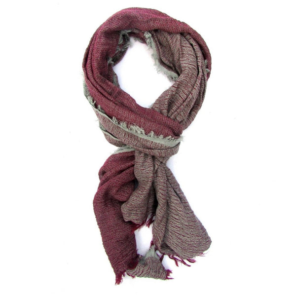 Turkish Cotton Blend Fringed Hobo Scarf Burgundy/Grey