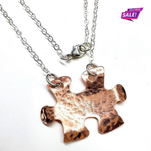 Handcrafted Autism Awareness Copper Puzzle Piece Necklace