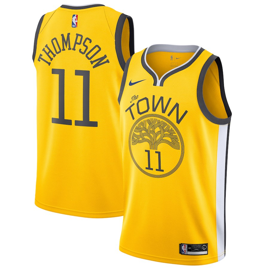 huge discount 8511b 00ea6 Youth Klay Thompson Golden State Warriors Swingman Jersey Yellow - Earned  Edition 2019