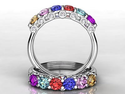 Larger 3.5 mm Six Birthstones by Christopher Michael With Diamond Accent*