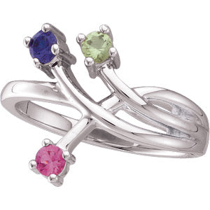Three Birthstone Freeform Ring