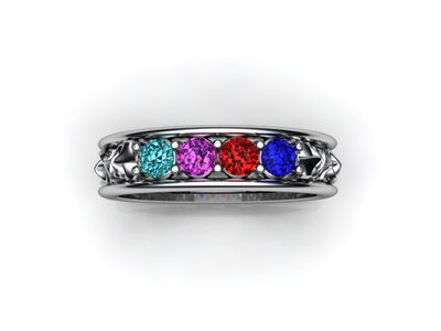 Christopher Michael designed Celtic Style Mothers Ring With Four 3mm Natural Birthstones*
