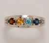 4 Birthstone Silver Split Shank Mothers Ring*