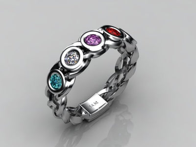 Custom Designed  by Christopher Michael Mothers Ring With Five Bezeled 3mm Birthstones*