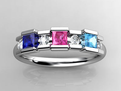 3 Birthstone Princess Mothers Ring by Christopher Michael with Diamond Accent*