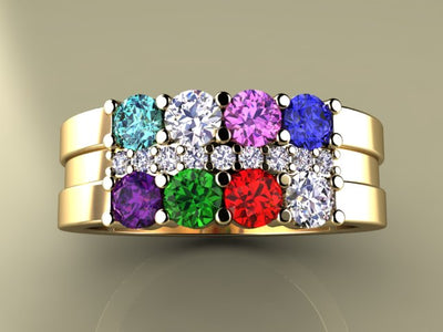 8 Birthstone Mothers Ring with Diamonds* Christopher Michael Design