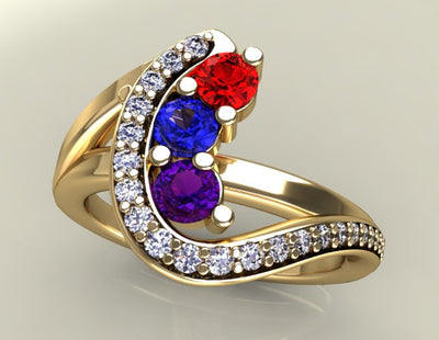 Three Birthstone Custom Mothers Ring With Fine Cut Diamonds* by Christopher Michael