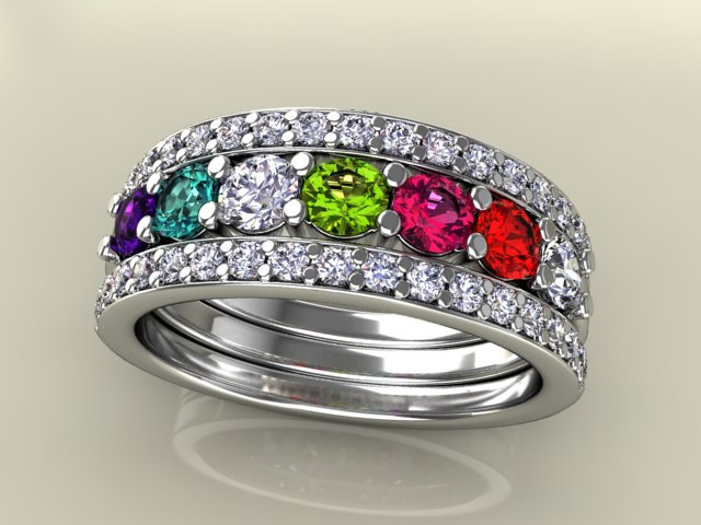 7 Birthstones Mothers Ring Flanked With Fine Diamond