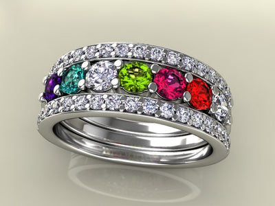 7 Birthstones Mothers Ring Flanked with Fine Diamond* Christopher Michael Design - MothersFamilyRings.com
