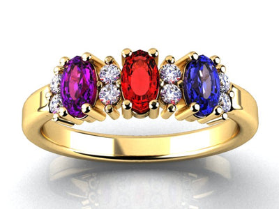 Christopher Michael Designed 14 kt Gold With 5x3 mm. Oval  Birthstones and Fine Diamond*