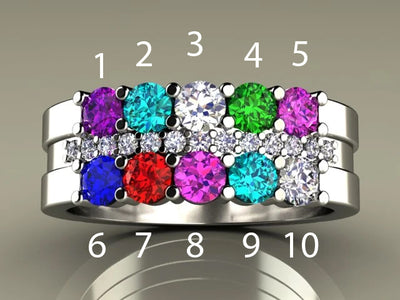 10 Birthstone Mothers Ring with Diamonds* Christopher Michael Design