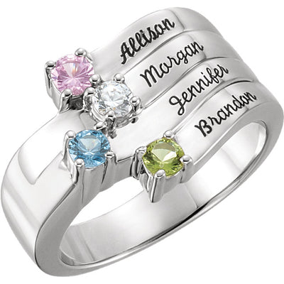 Silver Personalized Engraved 4 Stone Mothers Ring*
