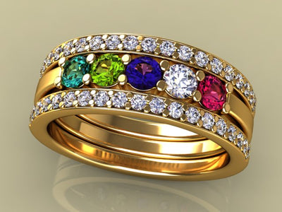5 Birthstones Mothers Ring Flanked with Fine Diamond*
