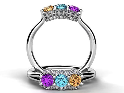Mother's Ring With Fine Diamond and Three Natural Birthstones* designed by Christopher Michael
