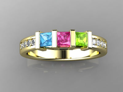 Christopher Michael Designed Three Birthstone Mothers Ring*