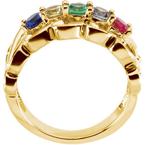 5 Birthstone Wide Mothers Ring*