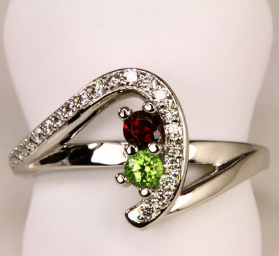 Two Birthstone Custom Mothers Ring With Fine Cut Diamonds* by Christopher Michael