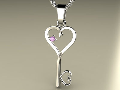 One Birthstone Key To Hearts Mothers Pendant*