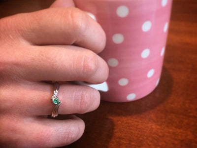 1 Birthstone Fluted Bypass Shank Mothers Ring* - MothersFamilyRings.com
