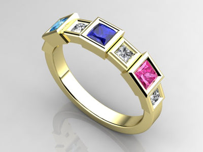 Christopher Michael Designed Three Princess Birthstone Mothers Ring with Diamonds