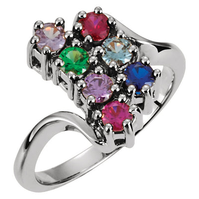 Seven Birthstone Twist Shank Mothers Ring*