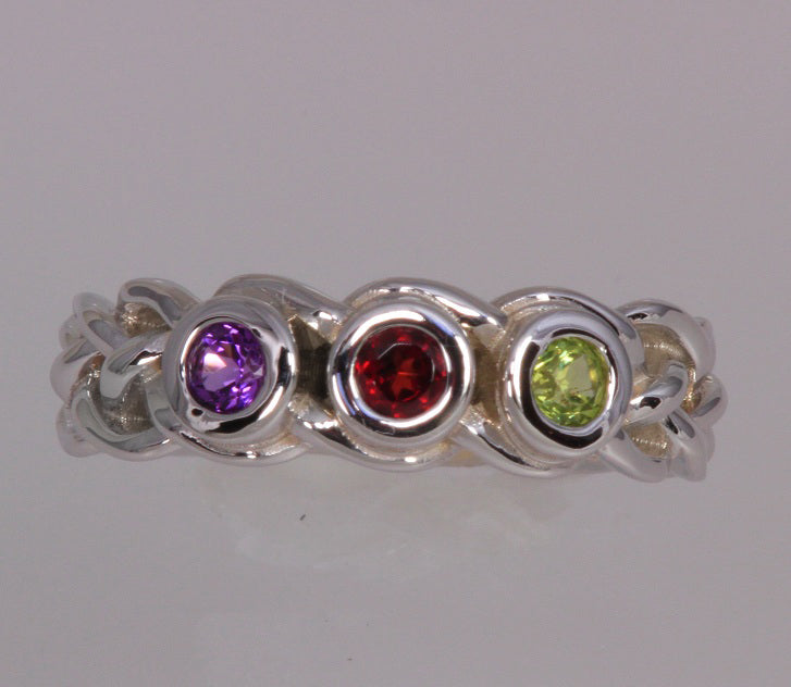 custom designed mothers ring with four bezeled 3mm birthstones