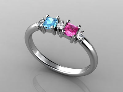 Christopher Michael Designed Two Princess Cut Birthstone Mothers Ring With Fine Diamonds*