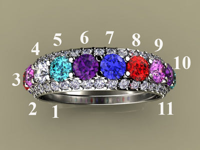 Eleven Birthstone Mothers Ring by Christopher Michael*