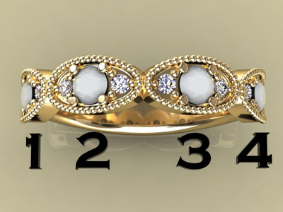 4 Birthstone Mothers Ring by Christopher Michael with Ideal Cut Diamonds*