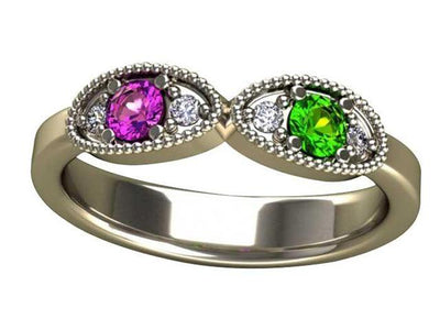 2 Birthstone Mothers Ring by Christopher Michael with Ideal Cut diamonds*