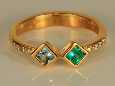 2 Birthstone Twisted Princess Mothers Ring by Christopher Michael*