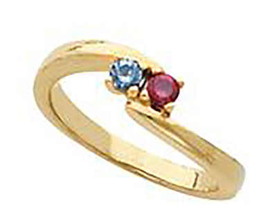 2 Stone Bypass Mothers Ring 3mm Birthstones*