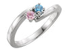 2 Stone Bypass Mothers Ring in Sterling Silver*