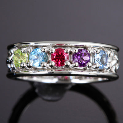 Christopher Michael designed Two Stone Celtic Style Mothers Ring With 3mm Natural Birthstones*