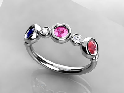 Bezeled Larger Round Three Birthstone Mothers Ring With Fine Diamonds*