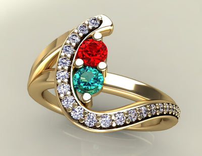 Two Birthstone Custom Mothers Ring With Ideal Cut Diamonds*