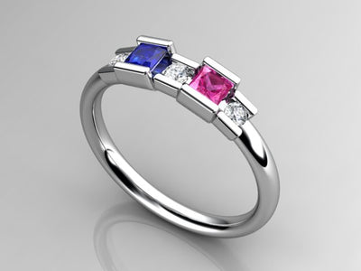 2 Birthstone Princess Mothers Ring by Christopher Michael with Diamond Accent*