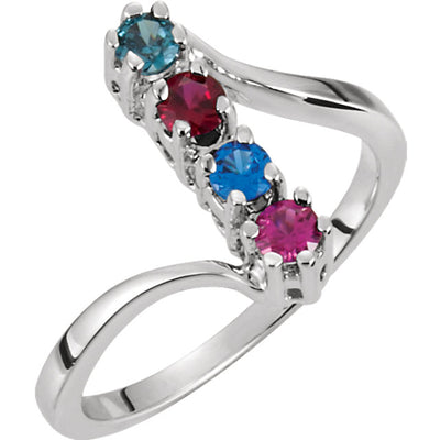 4 Birthstone Twist Shank Silver Mother's Ring*