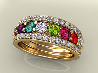 8 Birthstones Mothers Ring Flanked with Fine Diamond*
