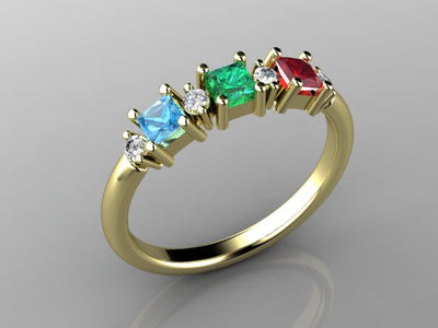Christopher Michael Designed Three Princess Cut Birthstone Mothers Ring With Fine Diamonds*