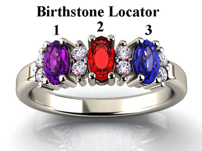 3 Stone Christopher Michael Designed 14 kt Gold With 5x3 mm. Oval  Birthstones and Fine Diamond*