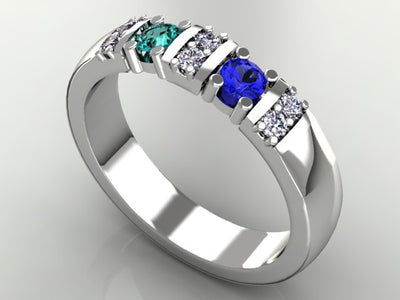 2 Birthstone Christopher Michael Designed Mothers Ring with Fine Diamonds*