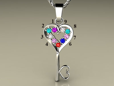 Nine Birthstone Key To Hearts Mothers Pendant* Christopher Michael Design