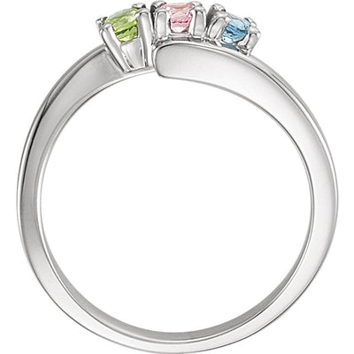 3 Stone Bypass Mothers Ring 3mm Birthstones*