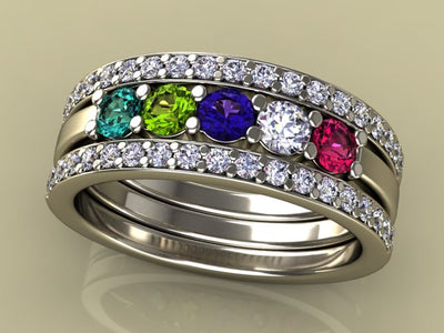 5 Birthstones Mothers Ring Flanked with Fine Diamond* Christopher Michael Design