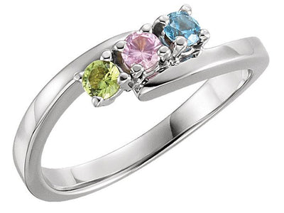 3 Stone Bypass Mothers Ring 3mm Birthstones* - MothersFamilyRings.com