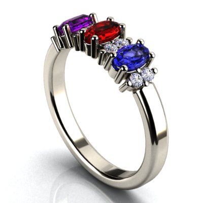 3 Stone Oval Birthstone Ring with Fine Diamonds Designed by Christopher Michael - MothersFamilyRings.com