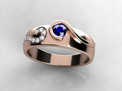 Larger Round Fine Natural One Birthstone Mothers Ring* designed by Christopher Michael